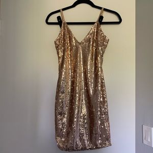 Rose gold sequin dress from ANGL.